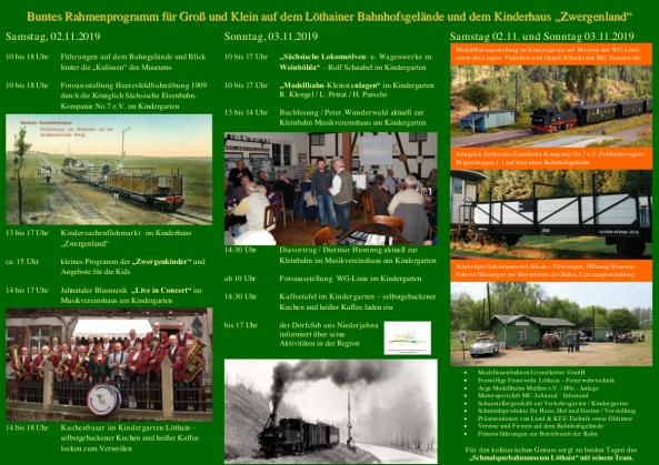 Veranstaltungsplan Festwochenende 02. - 03. November 2019 Löthain